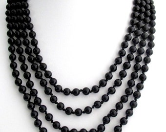 Black Pearl 100 Inches Long Necklace Hand Knotted Pearl Necklace Multi Strand Pearl Necklace Statement Bridal Necklace Free Shipping In USA