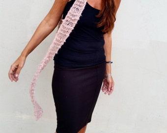 Skinny pink scarf skinny wool scarf pink scarves mohair scarf women pink scarves tie bow scarf cho