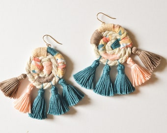 Statement Tassel Earrings - Large Multicolor Fringe Earrings - Handmade Wrapped Rope, Fabric - Teal/Blue/Green, Peach, Neutral - Gold Filled
