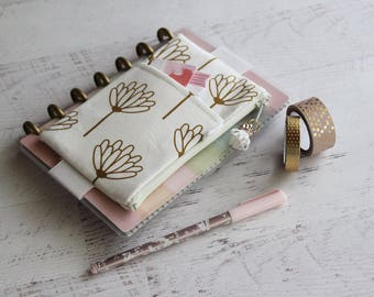Gold flower bag - journal accessories case - gold planner cover - journal bag - mini planner pouch - planner accessories bag
