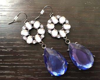 Royal Blue rhinestone Earrings, Statement pierced Jewelry, 3 Inch Drop earrings, blue earrings, dark blue jewelry, silver and blue jewelry