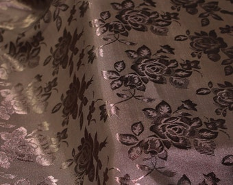 Brown Floral Jacquard Brocade Satin Fabric By the Yard Style 3006