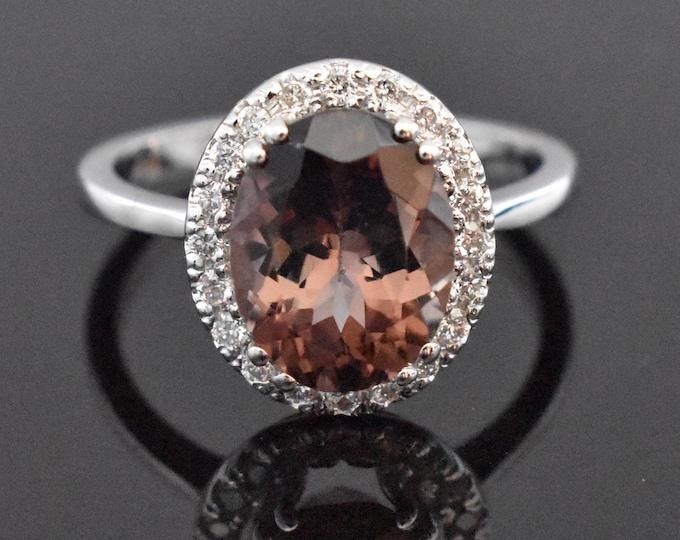 14K White Gold Tourmaline and Diamond Ring | Engagement Ring | Wedding Ring | Anniversary Ring | Diamond Halo | Handmade Fine Jewelry |