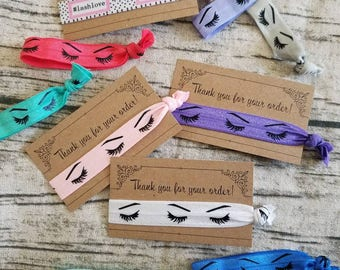 Thank you cards with ties - Lashes- Set - You pick the colors :)