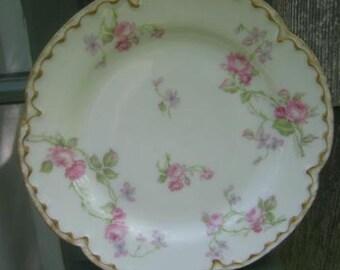 Half Price Haviland Sale, Antique Haviland Limoges Plate, Schleiger 87, Antique Collectible, Roses, Violets, Garden Party, Antique Gift