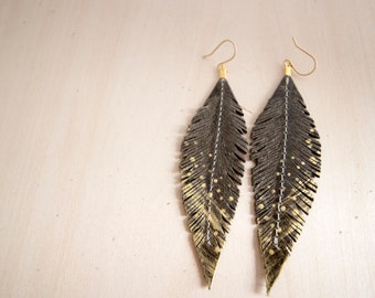 Olive Brown and Gold Hand-painted Reclaimed Leather Feather Earrings