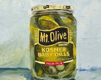 Baby Dill Pickles small still life ORIGINAL oil painting by Karen Barton 6x6""