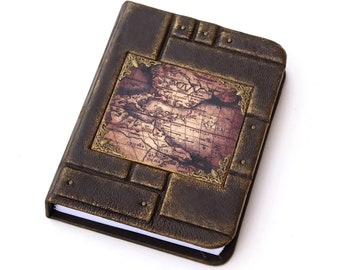 Personalized gift for him, Leather journal, travel journal, writing journal, journal with map