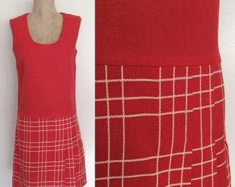 1970's Coral Red Linen Plaid Shift Dress Size Small by Maeberry Vintage