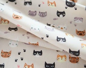 Lovely Cats' Face Pattern Cotton Fabric by Yard