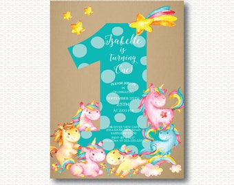 Unicorn First Birthday Invitation, Unicorns, Magical, 1st Birthday, One, Cute, Girls ,Digital, Printable, Kraft, Pink,  dots, Unique,