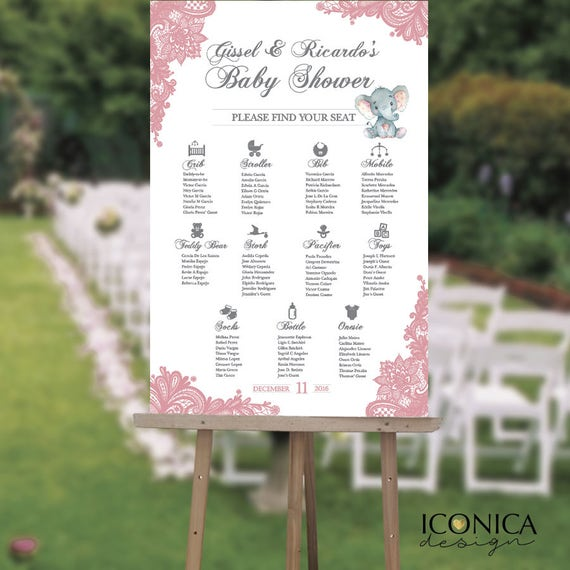 Baby Shower Seating: Baby Shower Seating Chart Board Elegant Pink Lace Seating