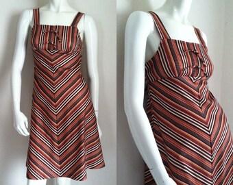 FINAL SALE --- Vintage 1970s Chevron Striped Sundress