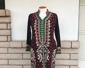 Vintage Embroidered Ethnic Dress Black Knit Tunic Dress Size Medium