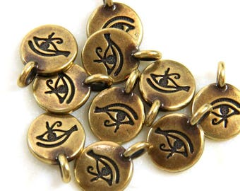TierraCast The Eye Of Horus Symbol, Horus Disk Charms, Good Health Charms, Jewelry Findings, Antiqued Brass, 4 or More Pieces, 0327