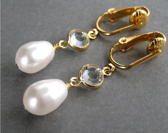White Pearl Drop Clip On Earrings, Gold Ear Clips, Round Clear Crystal Clipons, Simply Modern Gold