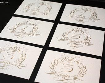 SMALL TABLE CARD  Calligraphy script wedding dinner wreath escort s