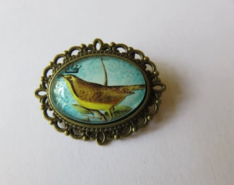 The Blue Bird bronze oval brooch