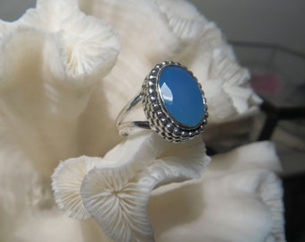 Beautiful Aqua Chalcedony  Ring Size 7