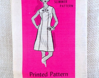 Vintage Pattern Mail Order 4661 Anne Adams 1970s Dress Yoke Mod V short sleeveless Bust 36