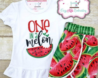 Watermelon Birthday Outfit, 1st Birthday Outfit, First Birthday Shirt, Melon Shirt, Watermelon Shirt Shorts, One in a melon