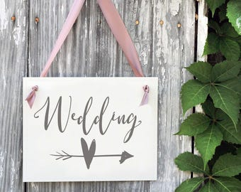 Wedding Directional Sign with Heart Right or Left Arrow Pointing to Wedding Ceremony or Reception Bridal Signage Banner 1633 BW