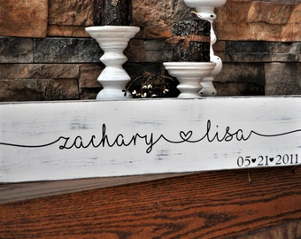 Rustic, Personalized, Wood, Wedding Sign