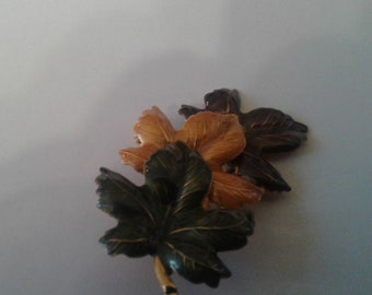 Colors of Autumn Enamel Leaf Brooch