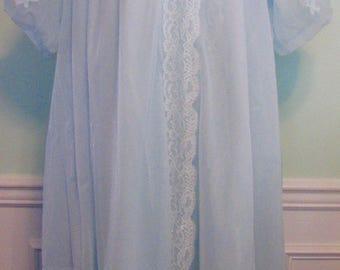 1960s Peignoir Lingerie Blue Chiffon Set Baby Blue