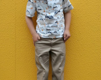 Boys trouser sewing pattern SLIM JIM PANTS boys pdf sewing pattern, boys trouser & shorts pattern sizes 2 to 12 years.