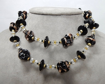 Beautiful Gold Glitter Art Glass Venetian Black & Gold Bead Necklace    JAE16