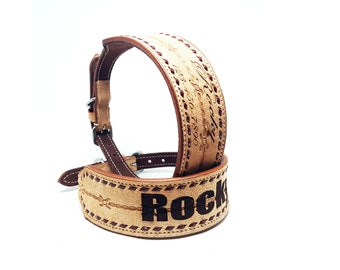 """Custom Name Engraved 2"""" Wide Barbwire Tooled MadcoW Western Nubuck Suede Leather Buck Stitched K9 Dog Collar Hand Made Fully Adjustable"""