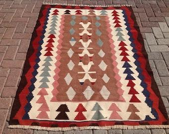 """Brown and burgundy rug, Small size kilim rug, Vintage Turkish rug, pastel kilim rug, kelim, vintage rug, bohemian, kids rug, 036, 64"""" x 46"""""""