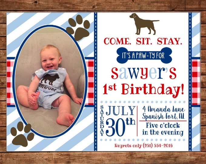 Boy Photo Invitation Puppy Pawty Dog Birthday Party - Can personalize colors /wording - Printable File or Printed Cards