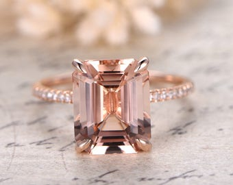 Morganite Ring 14K Rose Gold Solitaire Ring Diamond Wedding Band 9x11mm Emerald Cut Morganite Engagement Ring Diamond Pave Ring Claw Prong