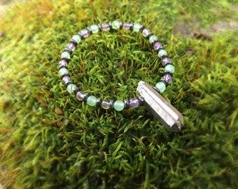 Grounded Tranquil Heart Bracelet, Healing Bracelet, Grounding Bracelet, Hematite, Amethyst, Green Aventurine, Titanium Quartz, Heart Chakra