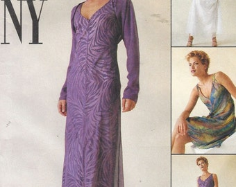 90s Womens Bias Dress in 2 Lengths, Attached Slip and Shrug McCalls Sewing Pattern 9337 Size 10 12 14 Bust 32 1/2 to 36 UnCut