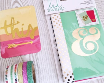 Small Journal Notebook Set of 2 - 3.5 x 5 inches Metallic Gold Foil - Heidi Swapp Pink & Mint - Ampersand - Heart - Lined - American Crafts