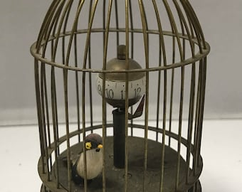 """a1114 Vintage Rare Unique Working Brass Bird Cage Mechanical Table Clock 5"""""""