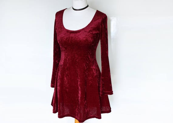 90s Stretch Velvet Dress Long Sleeve Mini Dress Burgundy