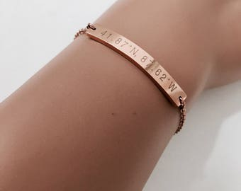 bar bracelet, coordinate bracelet ,rose gold bracelet,  bracelet,gift idea, bridesmaid gift,
