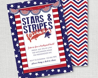 Patriotic Party Invitation, Printable,  Stars Stripes Invite, red White Blue, 4th of July, Independance Day, Memorial Day, Labor Day