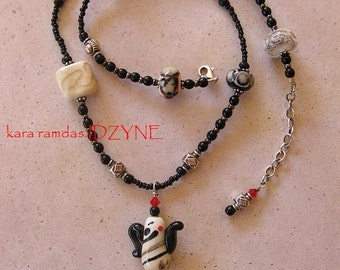 Black, Red, and Ivory Asain Tea Party Necklace