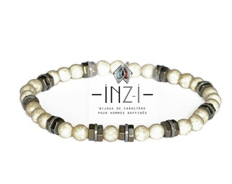 Unisex bracelet River stone and hematite 6mm INZ - I - model CARLSON