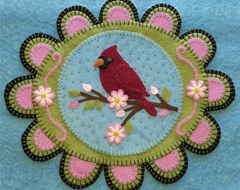 NEW***  Red Feathered Friend, Wool Applique Kit, Wool Applique, Penny Rug Kit, Candle Mat Kit, Cardinal Applique Kit, Embroidery Kit