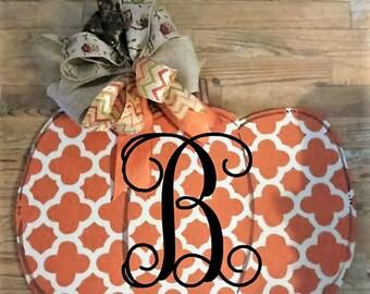 Pumpkin Door Hanger, Fall door hanger, Thanksgiving Door hanger, wreath, monogram