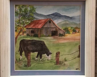 Dairy cow, cow, barn, pasture, mountains, Smoky Mountains, Appalachian Mountains, Blue Ridge Mountains, watercolor painting, framed, farm