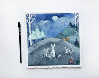Fox Woodland nursery art  Baby room art Baby shower gift idea Forest nursery art Kids wall art ideas Fox painting Watercolor fox