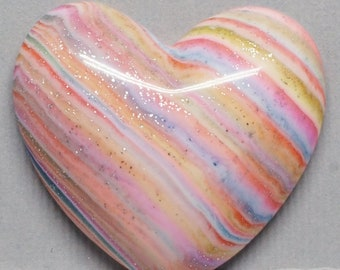 Striped Heart Cabochon Pink, Blue, Yellow Polymer Clay