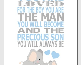 Elephant Nursery Wall Art, Jungle Animals Nursery Art, Elephant Wall Decor, Boy Nursery Wall Art, Blue Gray, You Are Loved, Quote Art, Print